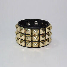 New 80s Industrial Steampunk Brass Pyramid Studded Genuine Leather Bracelet Cuff