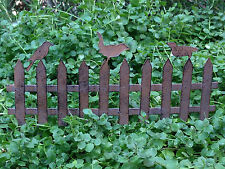 Miniature Dollhouse FAIRY GARDEN ~ Rusty Brown Iron Fence Pick with Birds ~ NEW