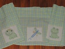 """LAMBS & IVY FROG VALANCE DRAGONFLY PRINCE FROGGY TALES GREEN YELLOW PLAID 67x13"""""""