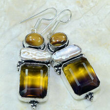 "Handmade Ametrine Crystal Gemstone 925 Sterling Silver Earrings 2.75"" #D97333"