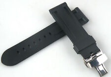 24mm black waterproof diving watch rubber Strap Band Deployant Buckle Parnis 064