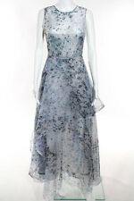 Nha Khanh Blue White Printed Tiered Jaelyn Gown Size 2 New $1240 10218384