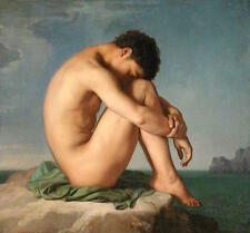 """Canvas Oil Painting Reproduction of Hippolyte Flandrin's Male Nude Study 34""""x34"""""""