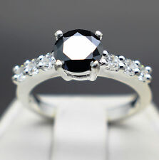 1.02cts 6.95mm Natural Black Diamond Ring, Certified AAA Grade & $935 Value