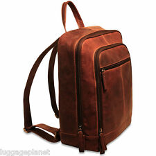 Jack Georges Voyager Collection Leather Laptop Backpack Brown 7516 BRN