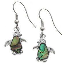 Green & Blue Two Tone Paua Shell Penguin Bird Silver Drop Earrings