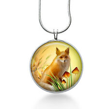 Fox with Mushrooms Necklace - Animal Jewelry - Handmade - Art Pendant