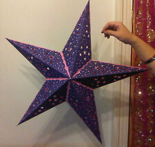 Diwali, Christmas & Wedding 5 Point Star Lampshade Purple Pink - Cut out Stars