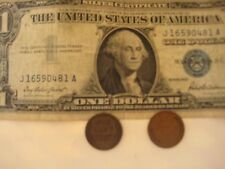 3/LOT: One1957 US$1 Bill Blue Seal & Two Old One Cent US Coins,Confirmation Mail