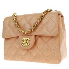 Authentic CHANEL CC Quilted Chain Shoulder Bag Leather Pink Vintage 637L068