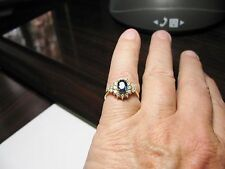 SAPPHIRE & HALO DIAMOND LADIES 1.51 CT 14K YELLOW GOLD RING, BEAUTIFUL!