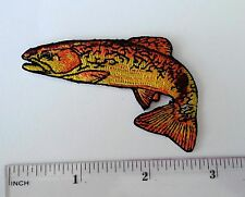 Trout fly fishing embroidery iron on patch for apparel and gear