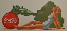 Vintage 1951 SPANISH Coca-Cola SILHOUTTE GIRL BLOTTER - NEW OLD STOCK - MINT!