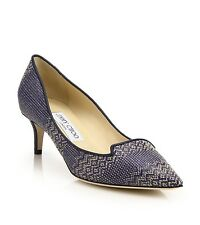 "$695+Tax Jimmy Choo ""ALLURE"" Kitten Heel 50 Woven Textile And Leather Sz 36.5"