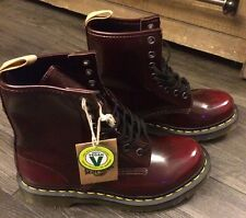 Doc Dr. Martens VEGAN 14585 Women's Cherry Red 8-Eye Boot US Size 7 L NWOB NWT
