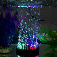 Aquarium Fish Tank Air Curtain Bubble Stone Disk with 12 Multi-color LED Light