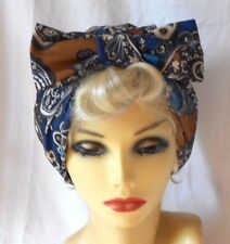 VINTAGE INSPIRED 1940s 1950s STYLE PAISLEY PATTERNED TURBAN CLOCHE HAT