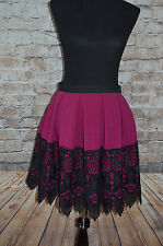 Modcloth Earning Pleat Cred Skirt NWT $70 Sz 6 Closet  Deep Fuchsia/Magenta lace