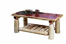 Rustic Red Cedar Log COFFEE COCKTAIL TABLE - Amish Made in USA