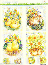 EASTER DUCKLING EGGS  PRECUT  PAPER TOLE DIMENSIONAL GERMAN  ORNAMENT COLLAGE