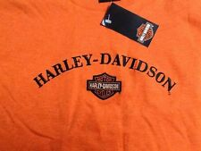 Harley Davidson Embroidered Bar And Shield orange Shirt Nwt Men's large