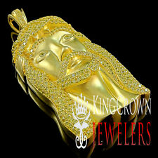 REAL SILVER CANARY LAB DIAMOND 14K GOLD FINISH JESUS MICRO PIECE CHARM PENDENT