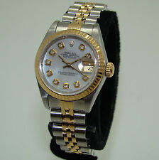 ROLEX STAINLESS & GOLD WOMENS AUTOMATIC DATEJUST WATCH MOTHER-of-PEARL DIAMOND