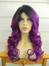 FREE SHIPPING Classic Cap Wig - Synthetic Blend - Violet Purple Ombre Wig