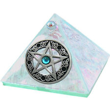 2-inch Glass Pyramid Box Pentacle with Stone Crystal (50035)