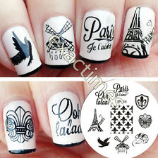 BORN PRETTY Nail Art Stamping Plate France Theme Image Steel Template 5.5cm #36