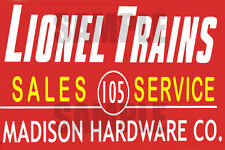 LIONEL TRAINS SALES SERVICE STORE BUILDING SIGN DECAL 3X2 DD114