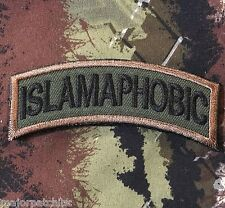 ISLAMAPHOBIC ARMY TAB ROCKER US TACTICAL USA INFIDEL MORALE FOREST HOOK PATCH