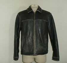 Mens EDDIE BAUER DISTRESSED Leather classic Bomber Biker Motorcycle Jacket M