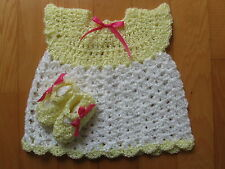 Hand Crocheted Baby or Doll Dress & Booties Doll Shoes Yellow & White Handmade