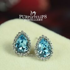 18K White Gold Plated Aquamarine Teardrop Earrings W/ Genuine Swarovski Crystals