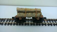 ULRICH N SCALE OLD TIME LOG CAR WITH REAL LOGS AND CHAIN DETAIL LOGGING