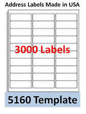 3000 Laser/Ink Jet Labels 30up Address Compatible with#  5160. Templates