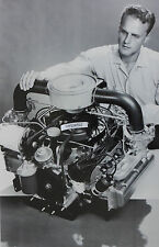 """12 By 18"""" Black & White Picture about 1960 Chevrolet Corvair engine display"""