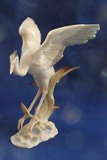 Hutschenreuther German Porcelain Crane in Flight 5 3/4 by 4 3/4 Inches  4 Chips