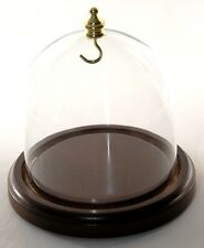 """FREE SHIPPING Glass Display Dome 4""""x4"""" Walnut Base Brass Hook For Collectibles"""