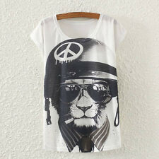 New Vintage Fashion Summer Women Short Sleeve Hat Cat Print T Shirt Tops Tee