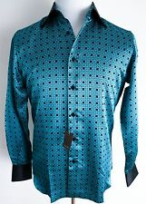 $1500 NEW STEFANO RICCI Blue and Black 100% Silk Dress Shirt Size 3XL XXXL