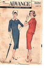 1950s Vintage Advance Pattern WOMENs DRESS 8684 Size 12 Bust 32'' UNCUT Wow!