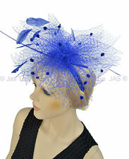 1 Melbourne Cup Spring Racing Carnival Headband Feather Fascinator Royal Blue