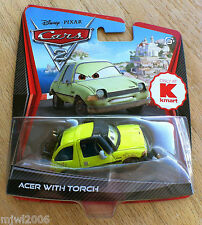 Disney PIXAR Cars 2 ACER WITH TORCH diecast VHTF only at KMART DAY 8 Pacer lemon