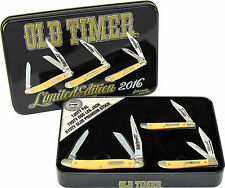 SCHRADE OLD TIMER 2016 THREE POCKET KNIFE & TIN GIFT SET 12OTY 61OTY & 72OTY NEW