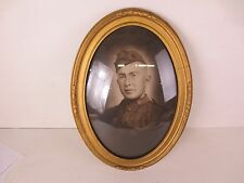 Vintage Victorian Ornate Gold Gilt Wood & Gesso Frame Convex Glass Oval Military