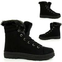 Ladies Biker Boots Women Army Ankle Desert Military Winter Fur Riding Shoes Size