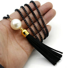 Korean Retro Pearl Tassels Pendant Long Chain Necklace Women Sweater Accessories