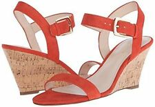 Nine West KIANI SUEDE 7 M Red Orange Ankle Strap Buckle Wedge Sandals New w Box